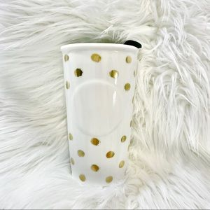Starbucks 2014 Ceramic gold dots travel mug
